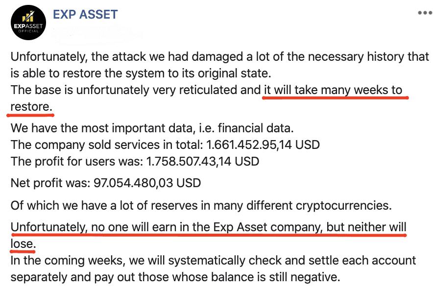 Exp Asset critical message